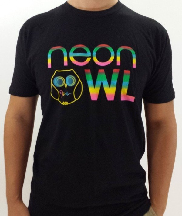 Neon Owl Men Crew T Shirt