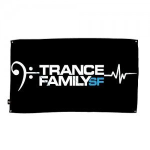 My Heart Beats to TranceFamily SF Flag Black - Neon Owl